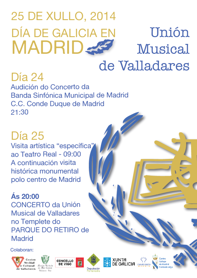 Cartel Concerto Union Musical Valladares Madrid 25 Xullo 2014